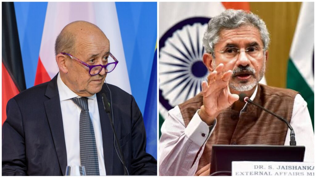 French foreign minister, Jean-Yves Le Drian and Indian Foreign minister Subrahmanyam Jaishankar