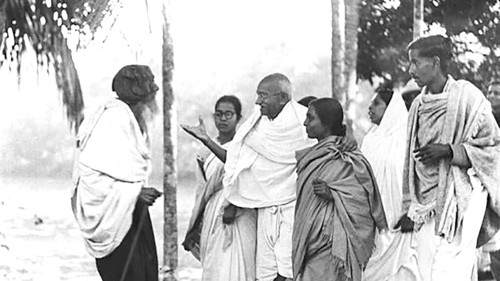 Mahatma Gandhi speaking to the people of Noakhali after the Direct Action Day