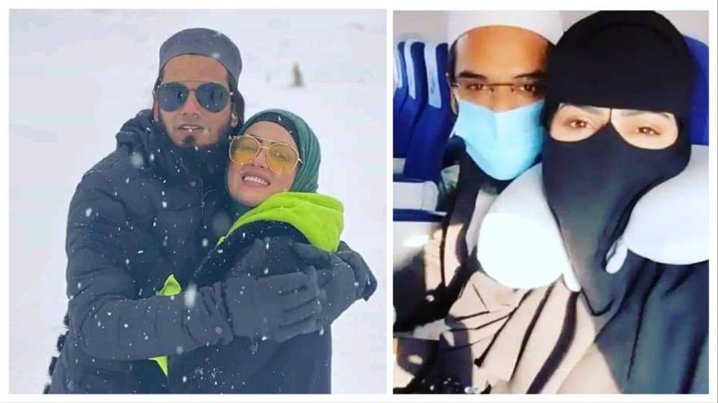Sana Khan and Mufti Anas on their honeymoon in Kashmir.
