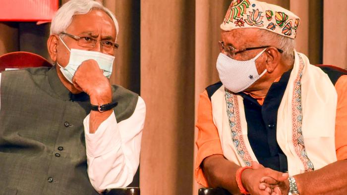 Bihar Chief Minister Nitish Kumar and Deputy Chief Minister Tar Kishore Prasad.