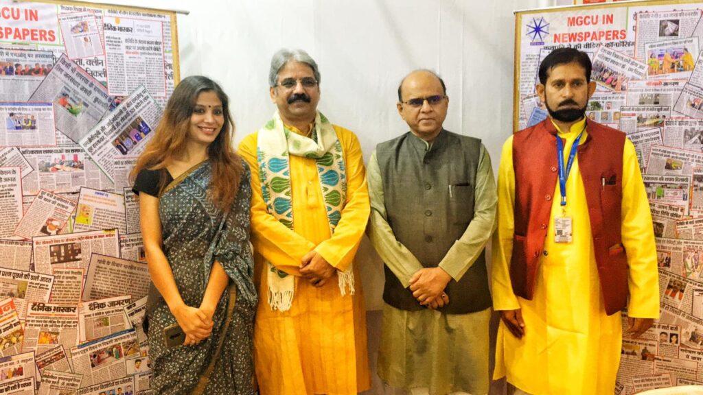 Sarthak EduVision Bhopal: Mahatma Gandhi Central University Vice Chancellor Prof Sanjeev Sharma with Manoj Dixit, Shephalika Mishra, Dr Saket Raman.