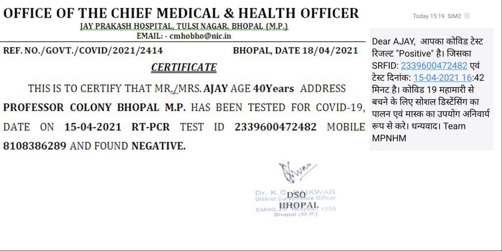Two Different COVID Test Results in Madhya Pradesh, Bhopal